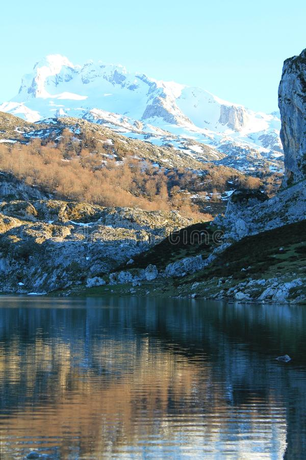 Lago Ercina, Cangas de Onís, Spain. Lake Ercina is a small highland lake in Asturias, Spain. It is a lake of glacier origin, located in the Picos de Europa stock image