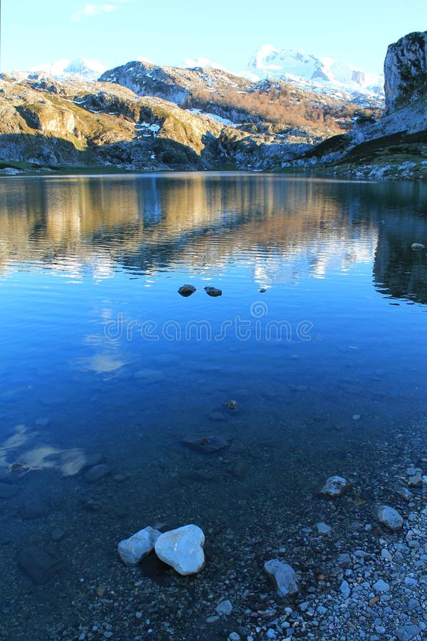 Lago Ercina, Cangas de Onís, Spain. Lake Ercina is a small highland lake in Asturias, Spain. It is a lake of glacier origin, located in the Picos de Europa royalty free stock images