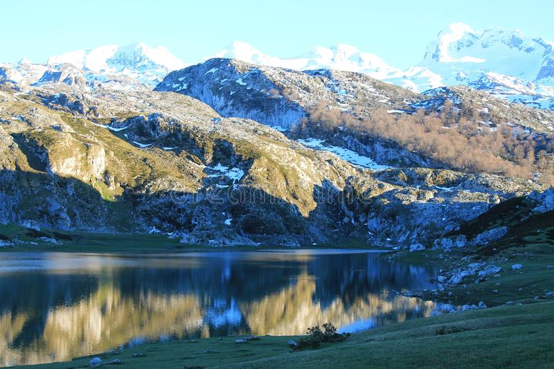 Lago Ercina, Cangas de Onís, Spain. Lake Ercina is a small highland lake in Asturias, Spain. It is a lake of glacier origin, located in the Picos de Europa royalty free stock image