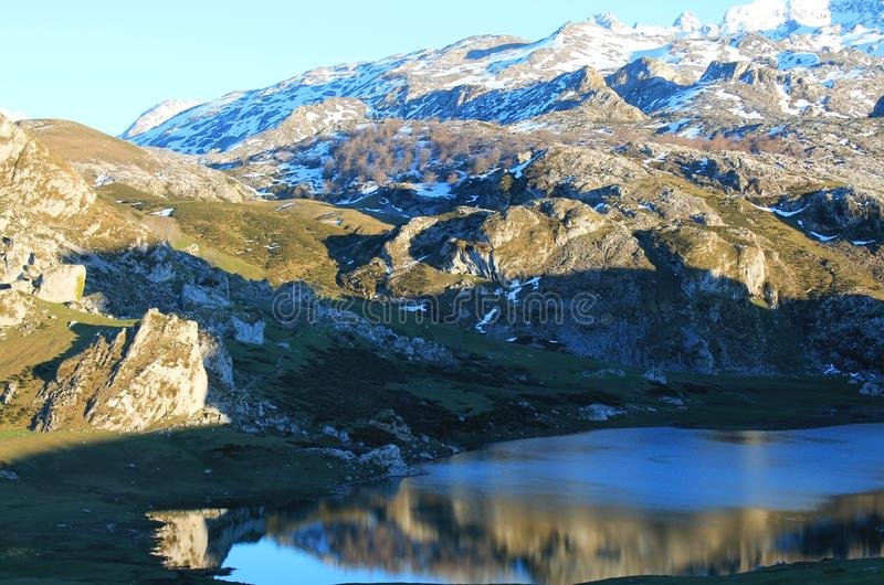 Lago Ercina, Cangas de Onís, Spain. Lake Ercina is a small highland lake in Asturias, Spain. It is a lake of glacier origin, located in the Picos de Europa stock photo