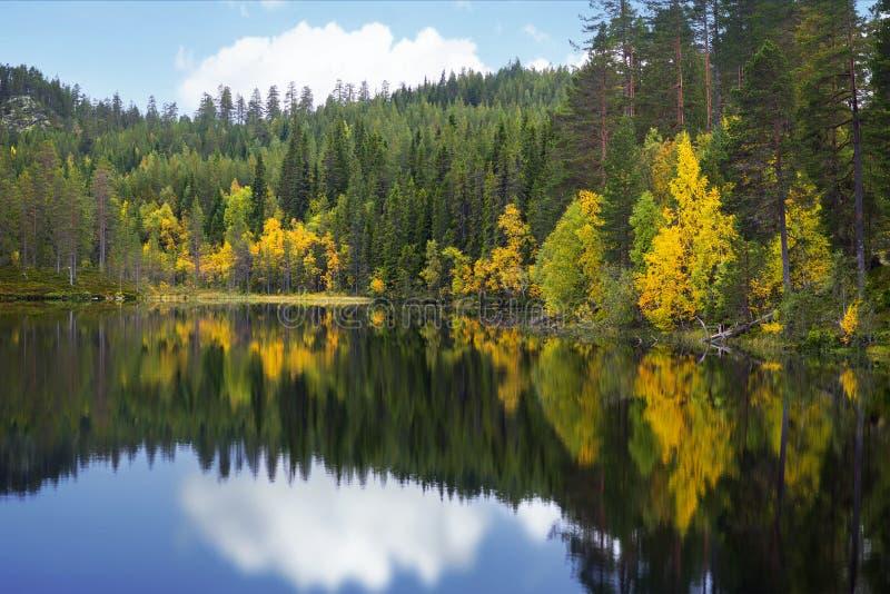 Lago escandinavo bonito no outono imagem de stock royalty free