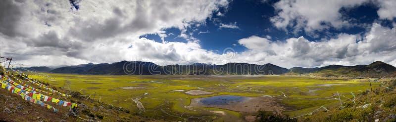Lago estacional cubierto con la hierba y las plantas verdes y rojas con las colinas en el fondo foto de archivo