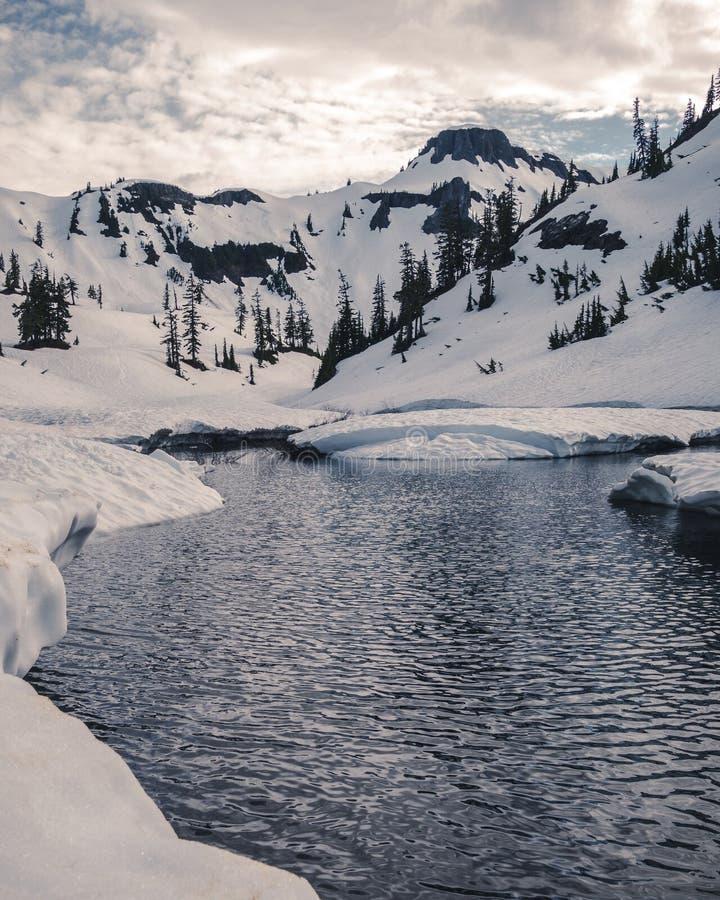 Lago estilizado Apline de la montaña Nevado fotos de archivo libres de regalías