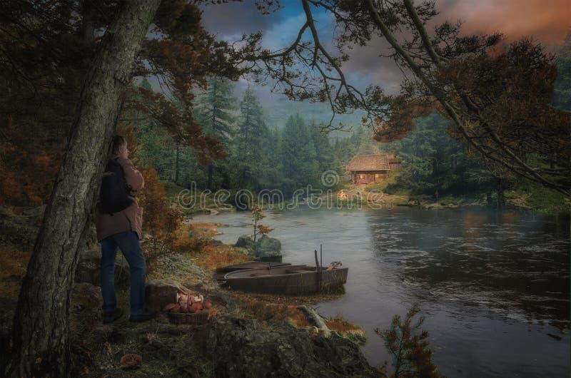 Lago evening imagem de stock