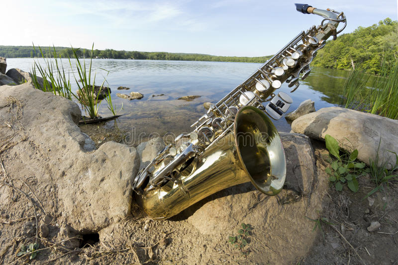Lago Fisheye saxophone fotos de stock royalty free