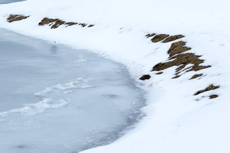 Lago Flozen, alterações climáticas LAK em Califórnia do sul, Big Bear fotos de stock royalty free