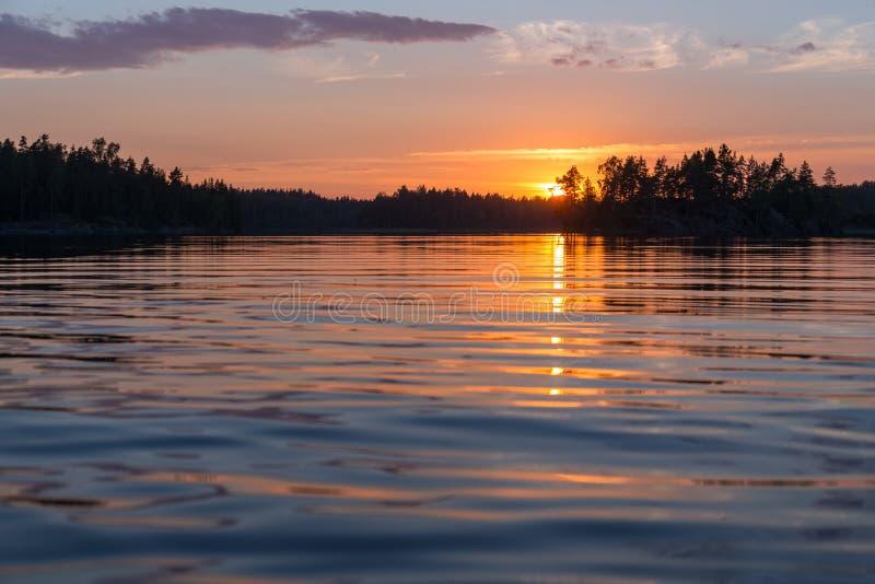 Lago forest en la puesta del sol fotografía de archivo libre de regalías