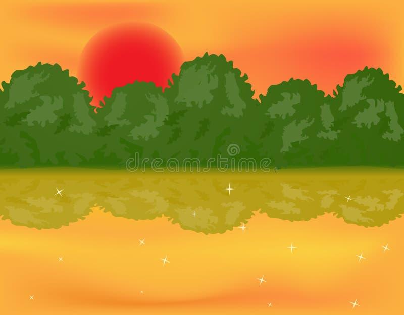 Lago forest sobre o sol ilustração stock