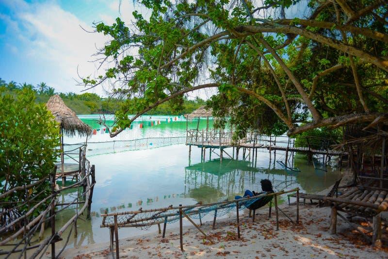 Lago Funadhoo, Maldivas fotos de stock