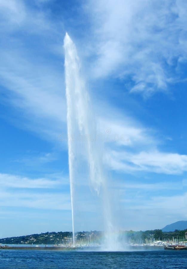Lago Genebra e fonte fotos de stock royalty free