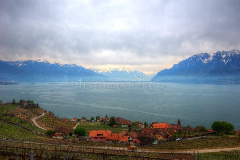 Lago Genebra no inverno fotografia de stock