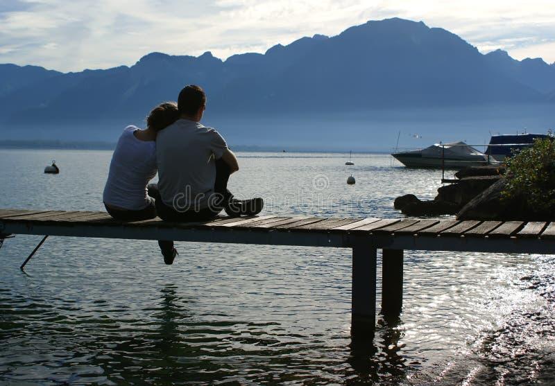 Lago Genebra, Switzerland, Europa imagem de stock