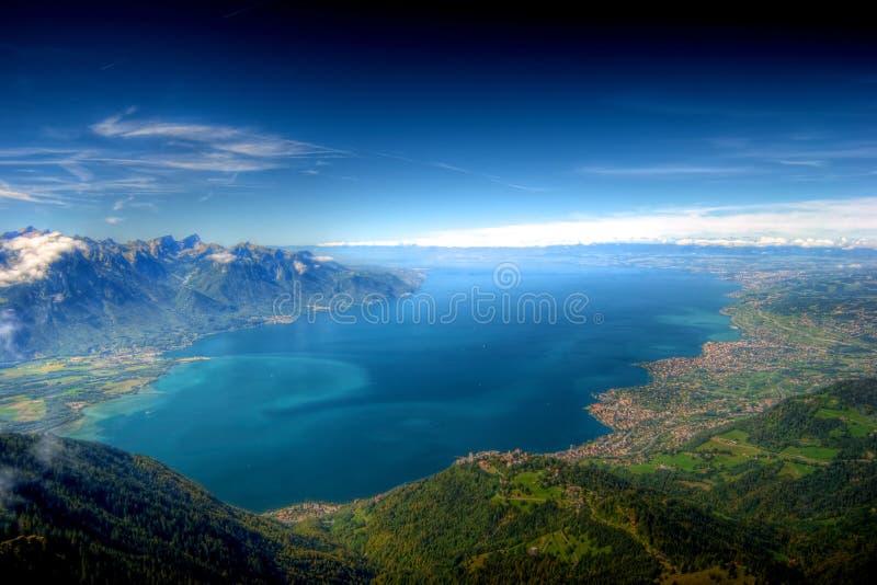 Lago Genebra, Switzerland, HDR imagens de stock