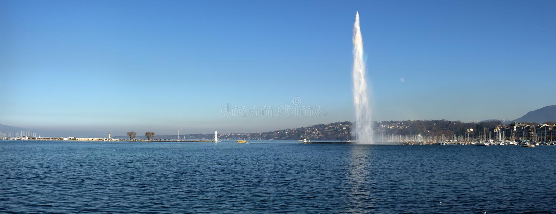 Lago geneva e d'Eau do jato foto de stock