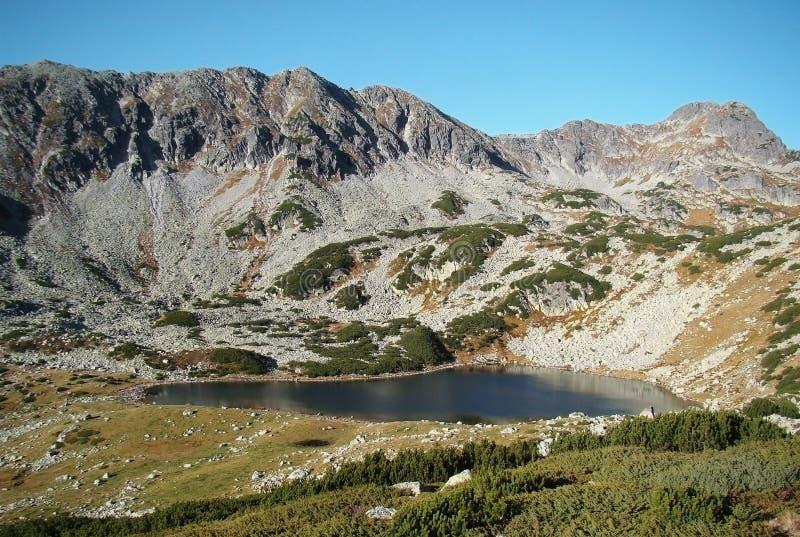 Lago glacial en montañas fotos de archivo