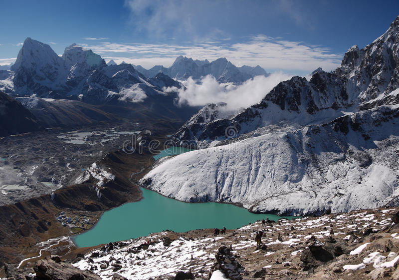 Lago Gokyo fotos de stock royalty free