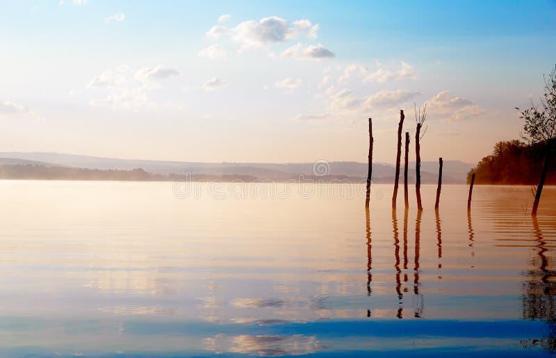 Lago hermoso con las montañas en el fondo en la salida del sol Árboles en agua y niebla de la mañana fotografía de archivo