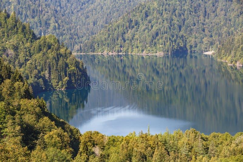 Lago hermoso Ritsa, Abjasia entre los bosques y las montañas coníferos densos fotografía de archivo