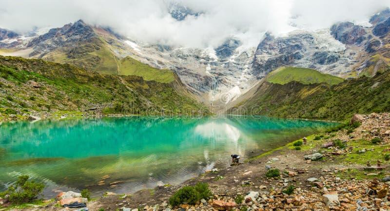 Lago Humantay nel Perù sulla montagna di Salcantay nelle Ande fotografia stock libera da diritti
