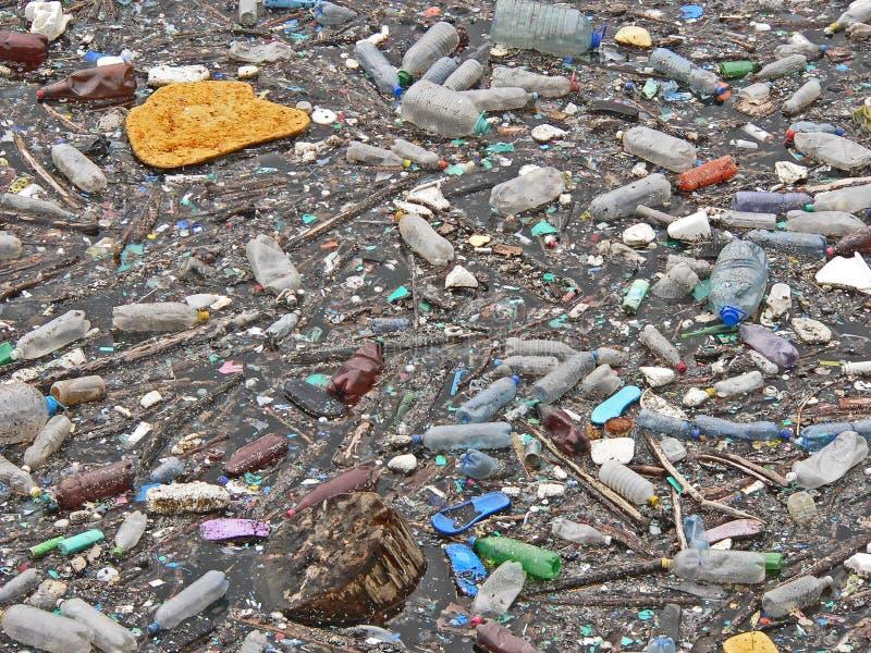 Lago inquinante Inquinamento in acqua Bottiglie di plastica Malattie e malattie fotografia stock libera da diritti
