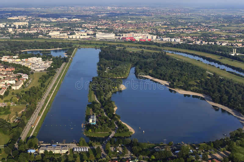 Lago Jarun, vista aérea foto de stock royalty free