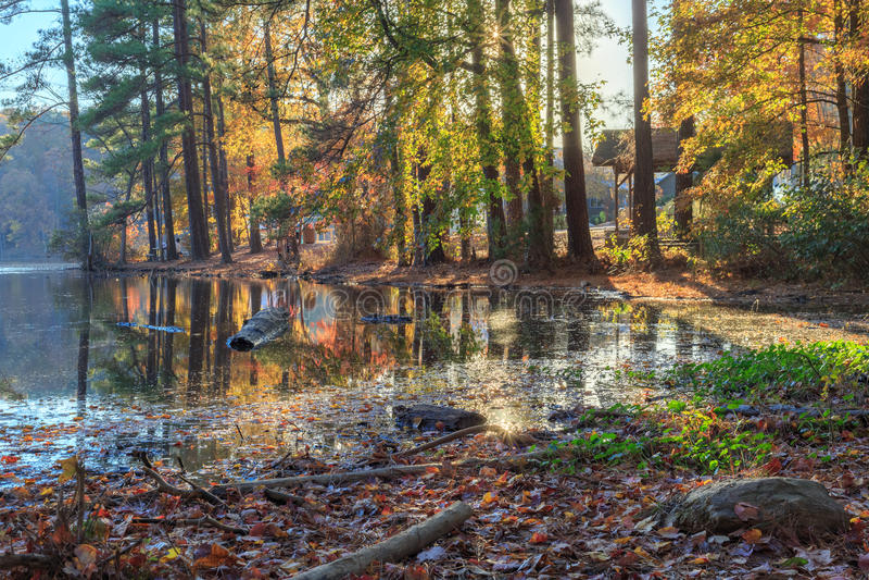 Lago Johnson Raleigh, NC fotografia de stock royalty free