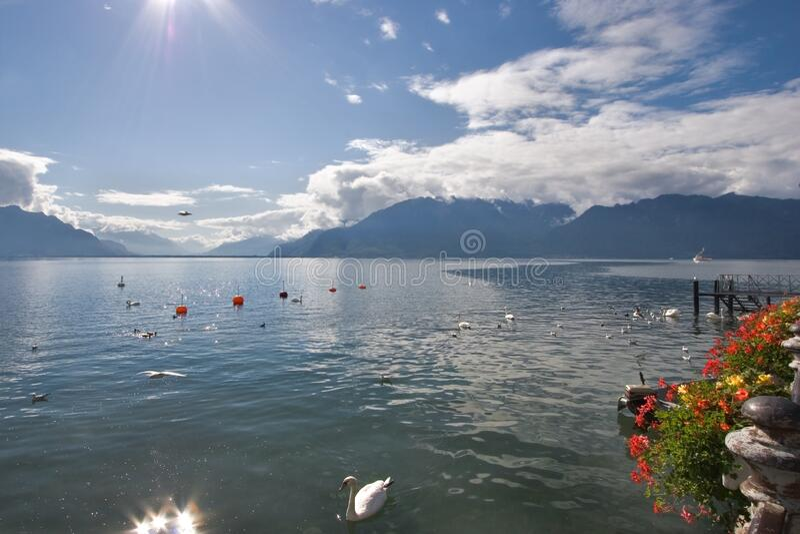 Lago Leman fotografía de archivo