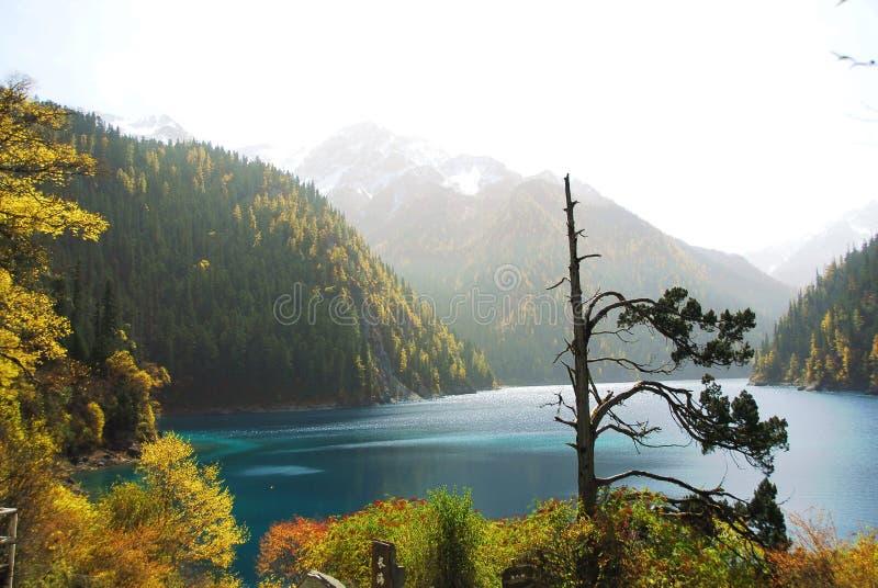 Lago longo de Jiuzhaigou no outono fotos de stock