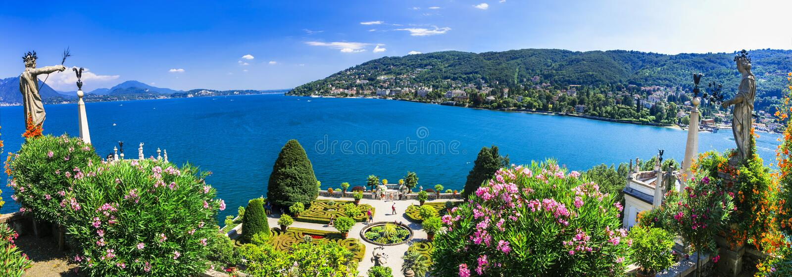 Lago Maggiore - beautiful isola Bella,panoramic view. Impressive lago maggiore,view with lake and mountains,North Italy royalty free stock photography