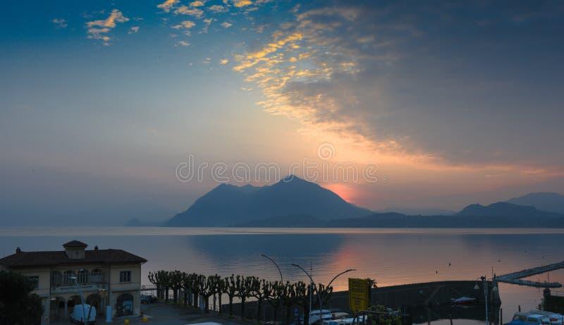 Lago Maggiore, Italy - Moody lake stock photo