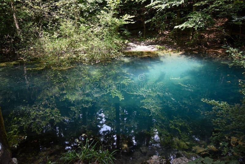 Lago magico Fairyrail blu nel legno immagini stock