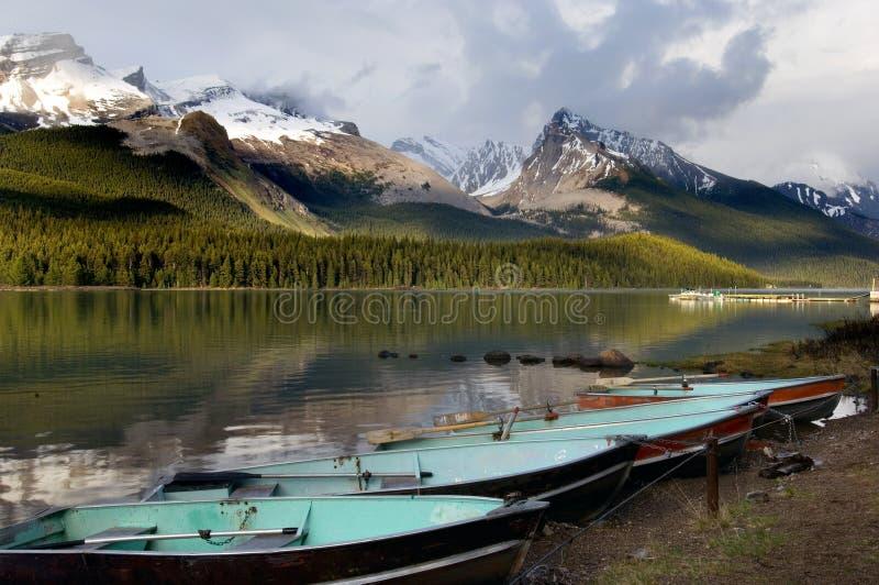 Lago Maligne fotografie stock