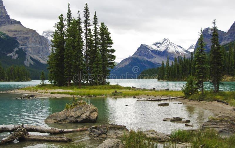 Lago Maligne imagens de stock
