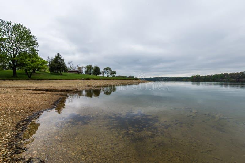 Lago Marburgo nel parco di stato di Codorus a Hannover, Pensilvania fotografia stock