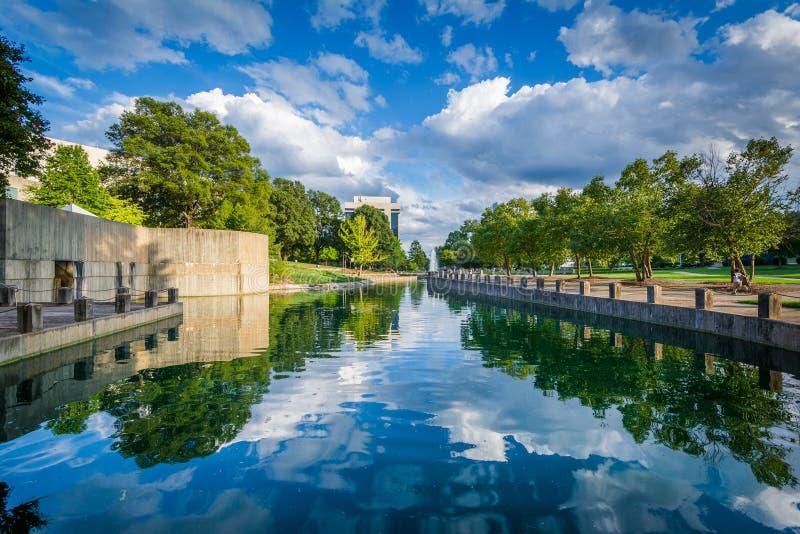 Lago a Marshall Park, a Charlotte dei quartieri alti, Nord Carolina immagine stock libera da diritti