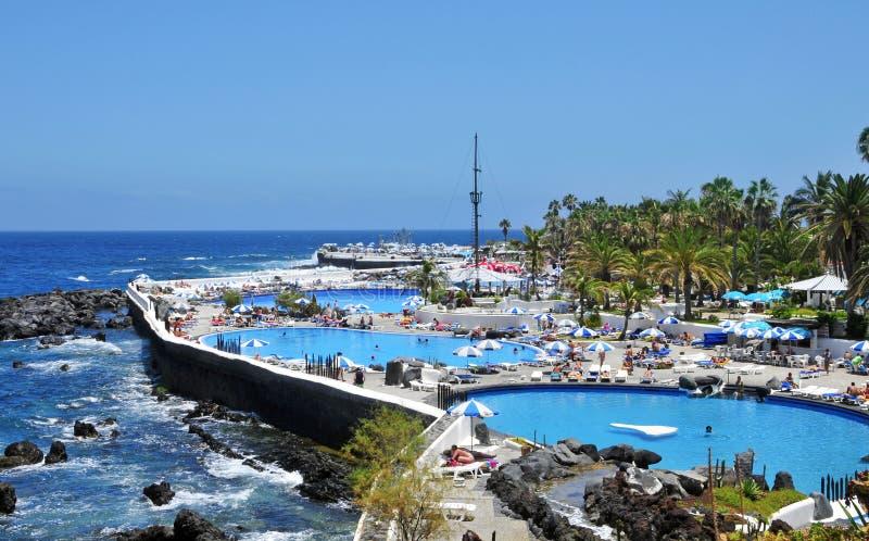 Lago Martianez, Puerto de la Cruz, Tenerife, Spagna immagine stock