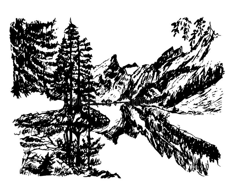 Lago in mezzo ad una foresta di conifere, illustrazione disegnata a mano della montagna del paesaggio del fondo del disegno bello illustrazione vettoriale