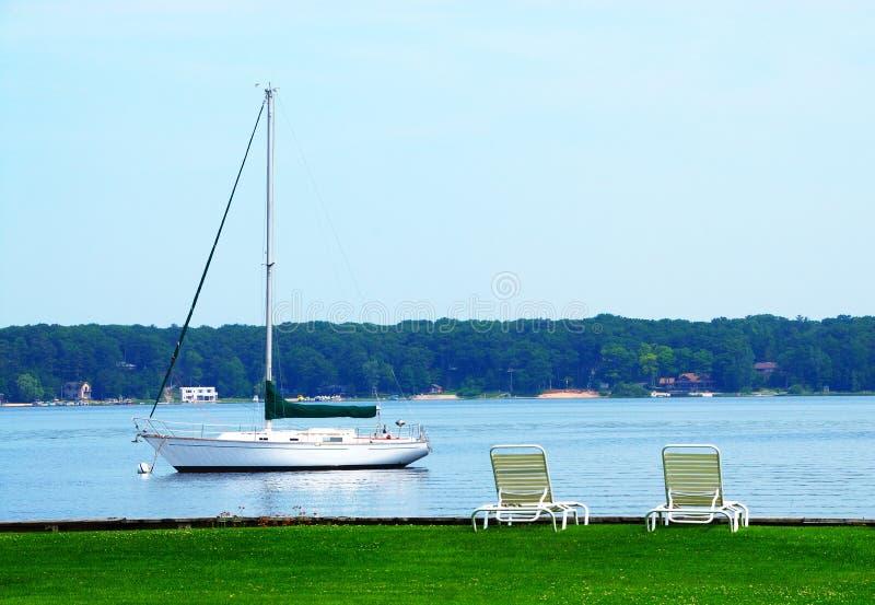 Lago Michigan bianco sailboat fotografia stock libera da diritti
