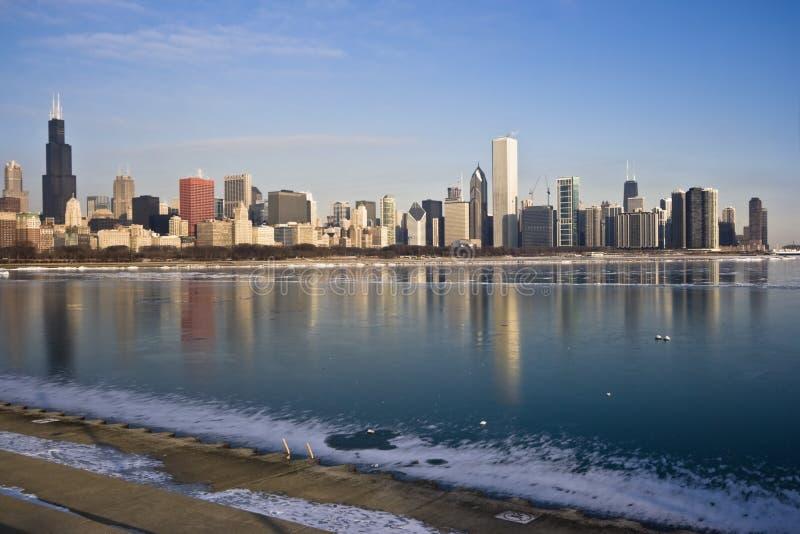 Lago Michigan congelado en Chicago