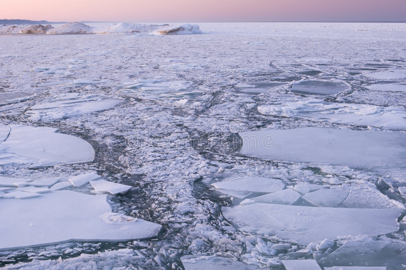 Lago Michigan ice foto de stock