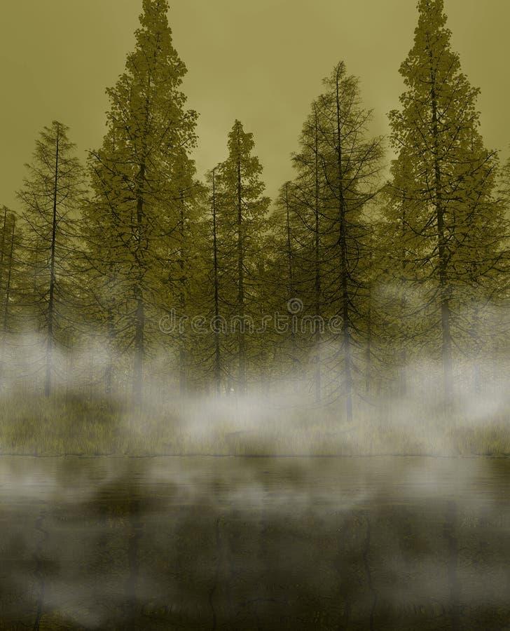 Lago mistico verde illustrazione di stock