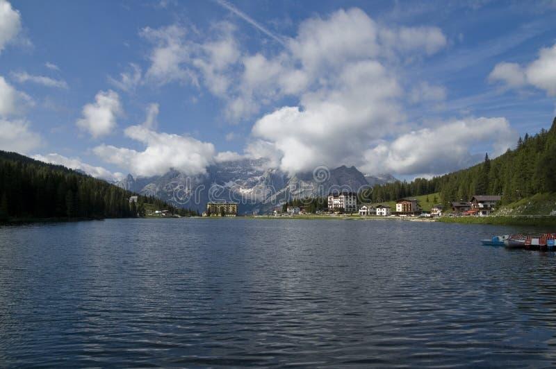 Lago Misurina, Auronzo di Cadore, Belluno, Itália imagem de stock royalty free