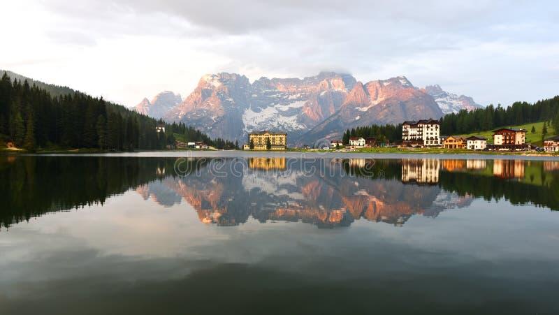 Lago Misurina, Italia fotografie stock libere da diritti