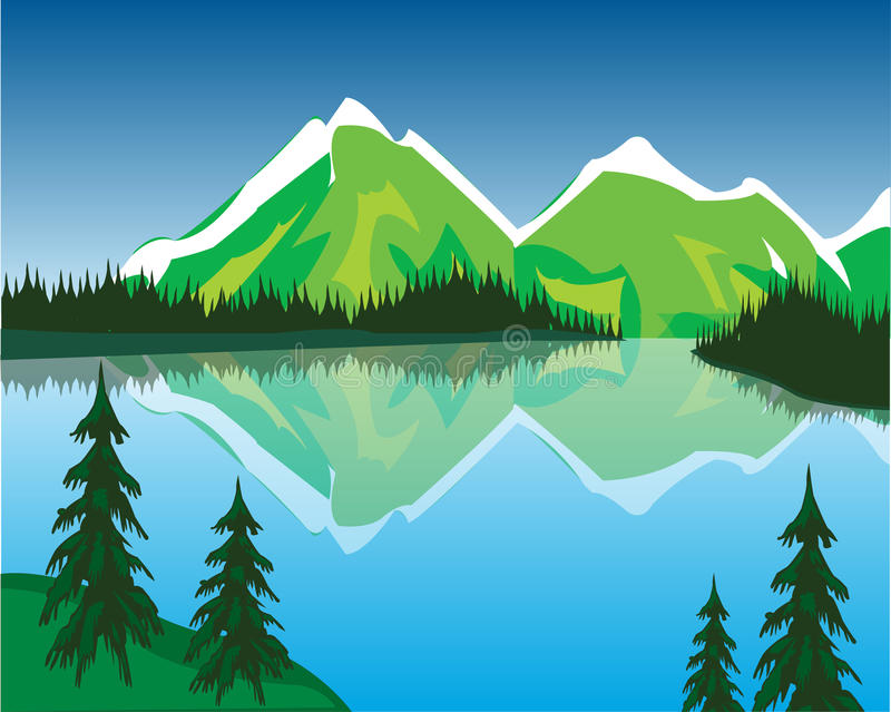 Lago in montagne royalty illustrazione gratis