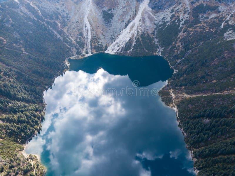 Lago Morskie Oko in montagne di Tatra, Polonia mountain immagine stock libera da diritti