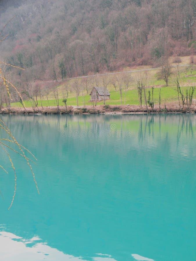 Lago mountain com água azul de turquesa e reflexão dos ramos na água fotografia de stock