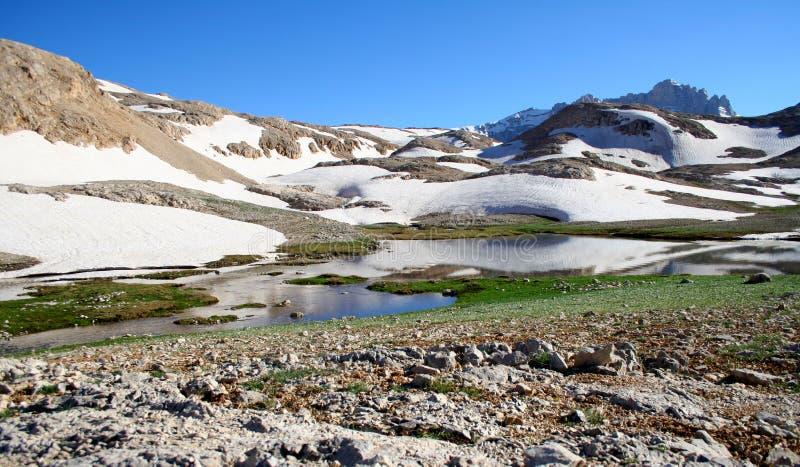 Lago mountain com iceberg e neve imagens de stock royalty free