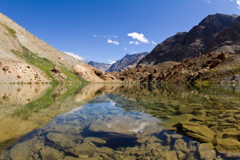 Lago mountain con le riflessioni in acqua immagine stock libera da diritti