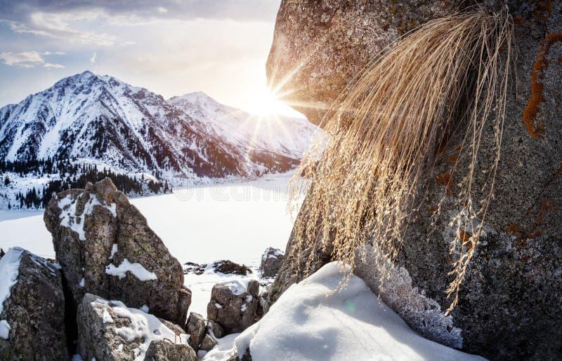 Lago mountain do inverno foto de stock royalty free