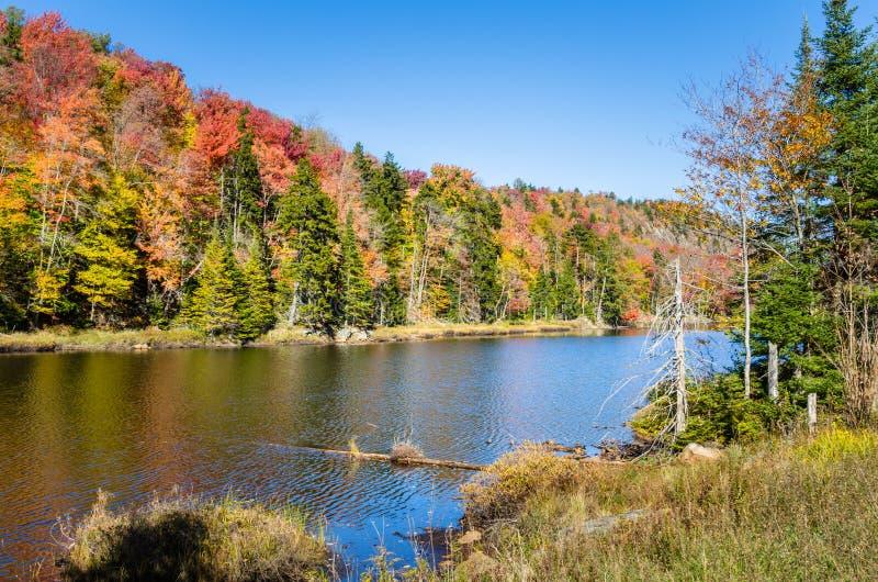 Lago mountain y cielo azul en otoño imagen de archivo